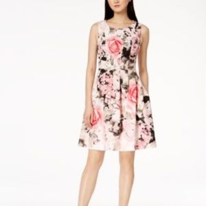 NWT Calvin Klein Seamed Floral-Print Fit Flar Pink